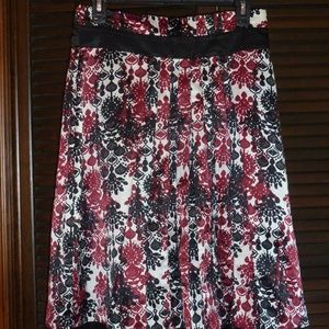 WORTHINGTON Pleated Satin Skirt Red Black White, 8